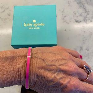 NEW Kate Spade Fuchsia Pink & Gold Enamel Bangle